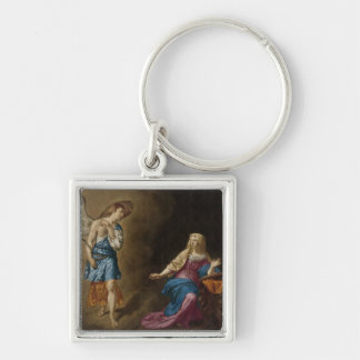 Annunciation Angel and Mary Silver-Colored Square Keychain