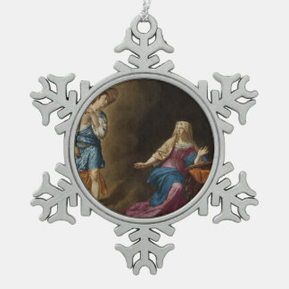 Annunciation Angel and Mary Snowflake Pewter Christmas Ornament