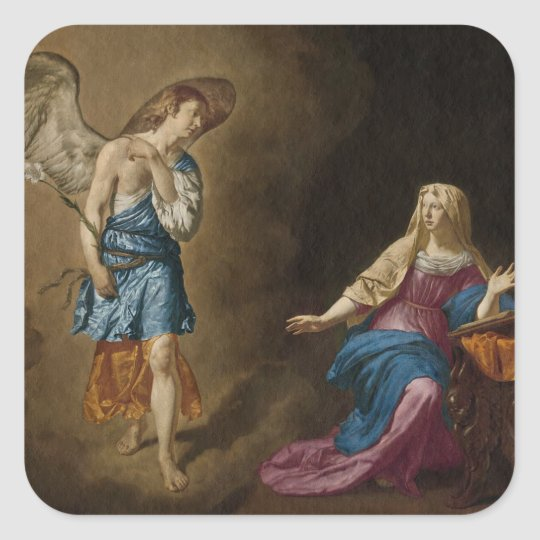 Annunciation Angel and Mary Square Sticker
