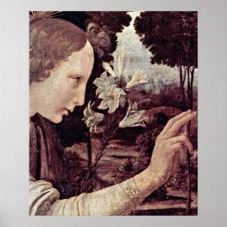 Annunciation angel by Leonardo da Vinci Poster