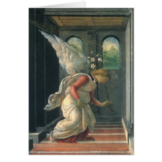 Annunciation (angel detail) by Sandro Botticelli Greeting Card