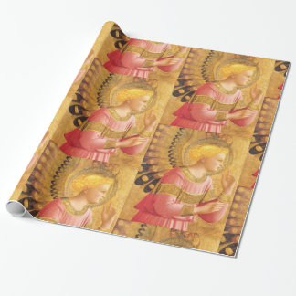 ANNUNCIATION ANGEL IN GOLD AND PINK Christmas Wrapping Paper
