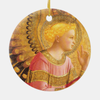 ANNUNCIATION ANGEL IN GOLD PINK Christmas Ceramic Ornament