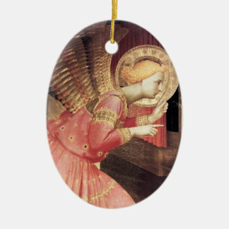 ANNUNCIATION ANGEL IN PINK AND GOLD Gem stone Ceramic Oval Ornament