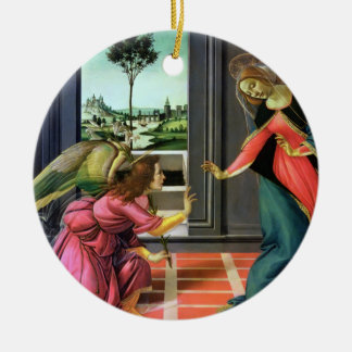 Annunciation by Botticelli Round Ceramic Ornament