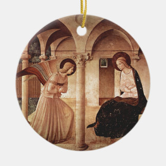 Annunciation (by Fra Angelico) Round Ceramic Ornament
