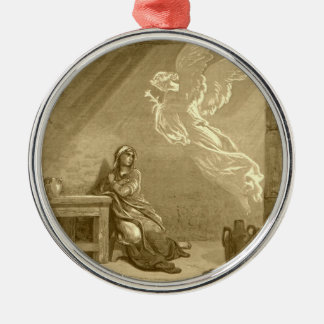 Annunciation of Blessed Virgin Mary Silver-Colored Round Ornament