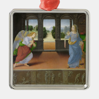 Annunciation Silver-Colored Square Ornament