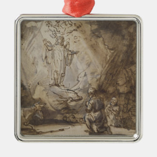 Annunciation to the Shepherds Silver-Colored Square Ornament