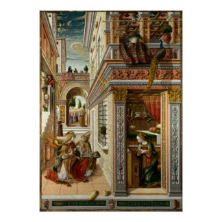 Annunciation With St. Emidius, 1486 Poster