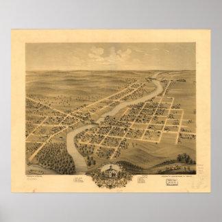 Anoka Minnesota 1869 Antique Panoramic Map Poster