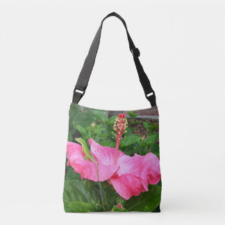 Anole Lizard On Pink Hibiscus Flower Reusable Crossbody Bag