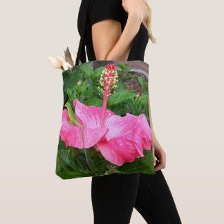 Anole Lizard On Pink Hibiscus Flower Reusable Tote Bag