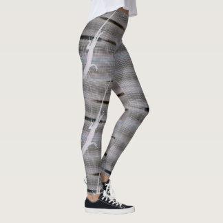 anole lizard silhouette grayscale leggings