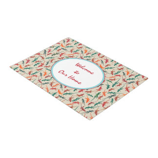 Anole Lizards Red Green Orange Pattern Doormat
