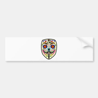 ANONYMOUS Day of the Dead 4 Anon Mask Sugar skull Bumper Sticker