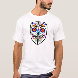 ANONYMOUS Day of the Dead 4 Anon Mask Sugar skull T-Shirt
