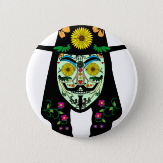 ANONYMOUS Day of the Dead 5 Anon Mask Sugar skull 2 Inch Round Button
