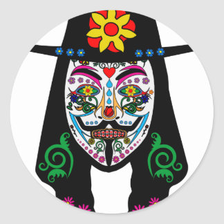 ANONYMOUS Day of the Dead 7 Anon Mask Sugar skull Classic Round Sticker