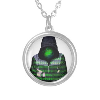 Anonymous Internet Hacker Silver Plated Necklace