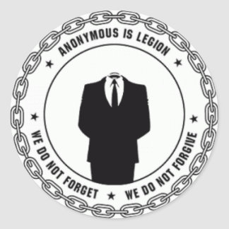 anonymous logo classic round sticker