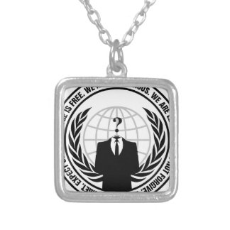 anonymous logo with slogan silver plated necklace