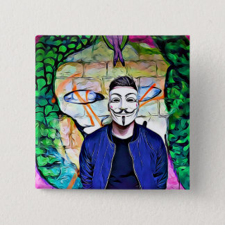 Anonymous Mask Truth & Justice Seeker Graffiti 2 Inch Square Button