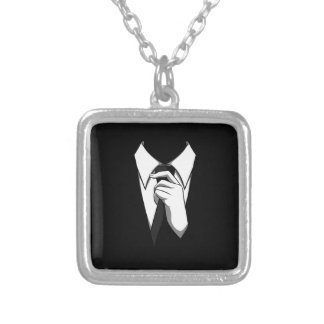 Anonymous suit silver plated necklace