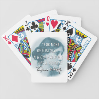 Anonymous Was a Woman ~ Virginia Woolf quote blue Bicycle Playing Cards