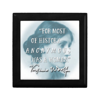 Anonymous Was a Woman ~ Virginia Woolf quote blue Gift Box