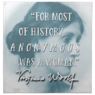 Anonymous Was a Woman ~ Virginia Woolf quote blue Napkin