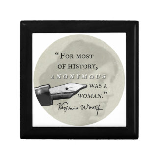 Anonymous Was a Woman ~ Virginia Woolf quote circl Gift Box