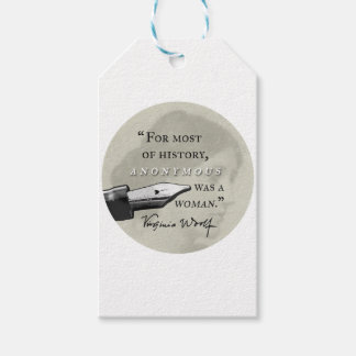 Anonymous Was a Woman ~ Virginia Woolf quote circl Pack Of Gift Tags