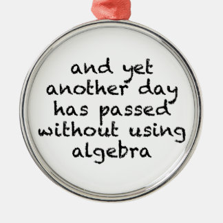 Another Day Without Algebra Silver-Colored Round Ornament
