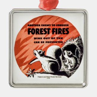 Another Enemy to Conquer Forest Fires Vintage Silver-Colored Square Ornament