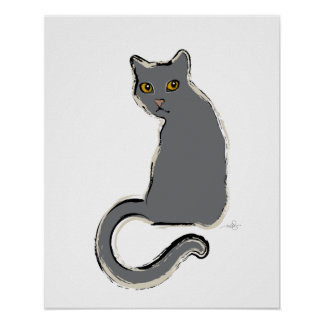 Another Gray Cat Poster