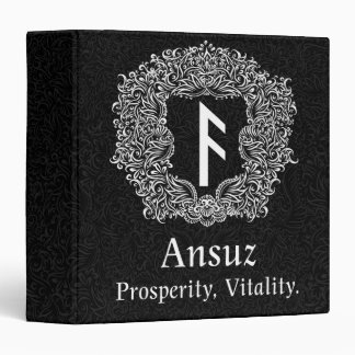 Ansuz-rune / Prosperity, Vitality 3 Ring Binder