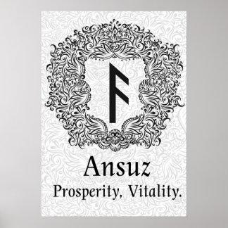 Ansuz-rune / Prosperity, Vitality Poster