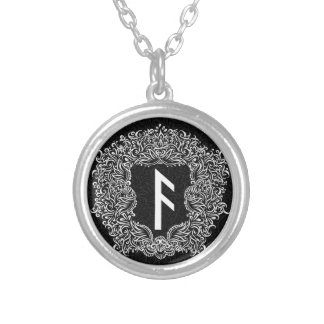 Ansuz-rune / Prosperity, Vitality Silver Plated Necklace