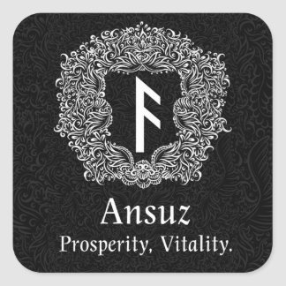 Ansuz-rune / Prosperity, Vitality Square Sticker