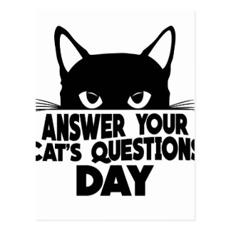 Answer Your Cat's Questions Day Postcard