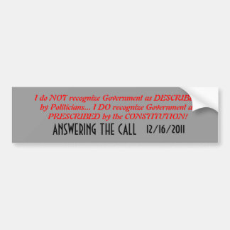 ANSWERING THE CALL BUMPER STICKER
