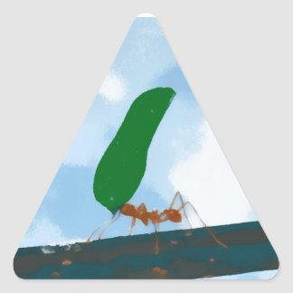 Ant Carrying a Leaf Triangle Sticker