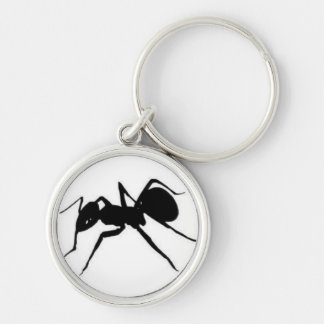 ant logo Silver-Colored round keychain