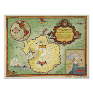 Antarctic expedition map poster
