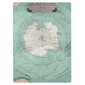 Antarctica Antique Map Clipboard