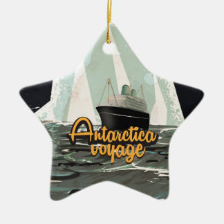 Antarctica Vintage Travel poster Ceramic Ornament