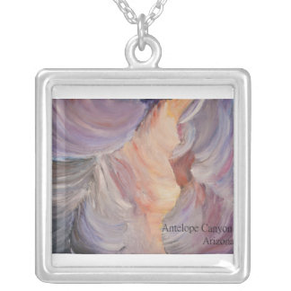 antelope canyon painting in oil silver plated necklace
