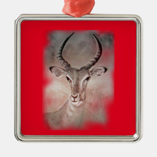 Antelope Christmas Ornament. Silver, red, grey. Silver-Colored Square Ornament