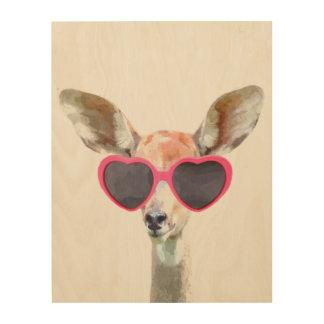Antelope cute funny woodland animal watercolor wood print
